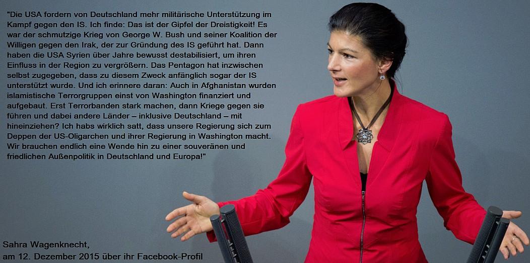 Sahra Wagenknecht - USA fordern mehr militärische Unterstützung von Deutschland.