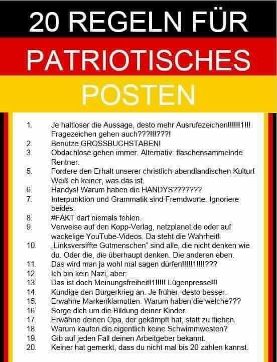 20 Regeln für patriotische Posts.