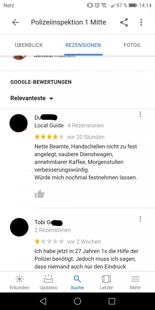 Polizeiinspektion 1 Mitte / Google-Bewertungen
