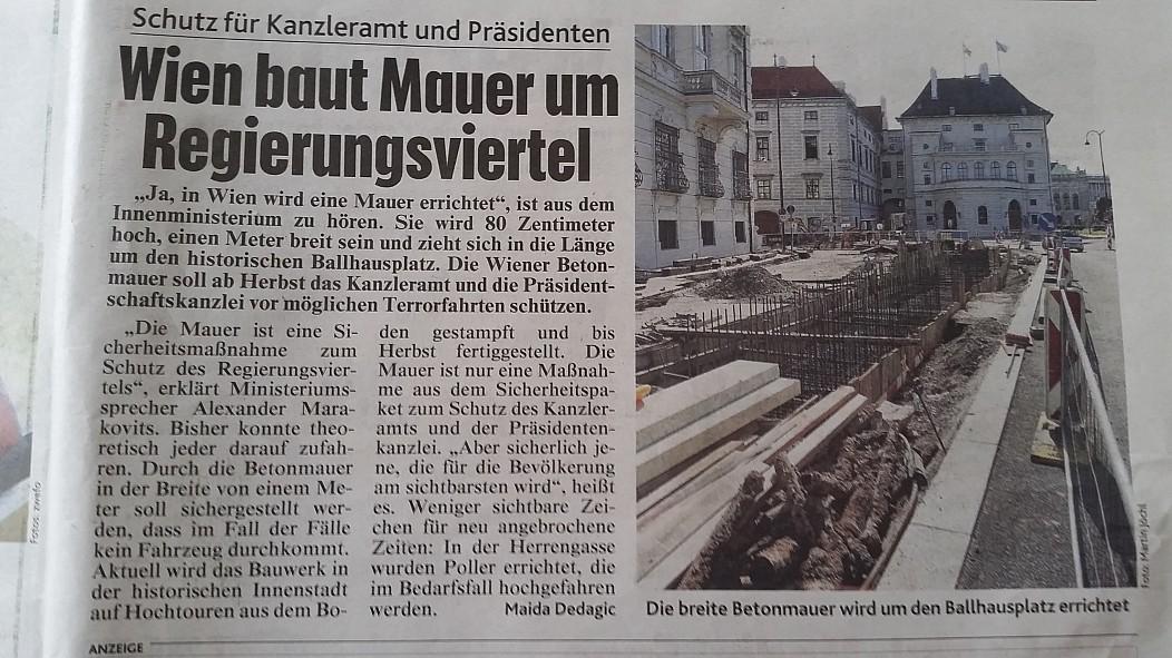Wien baut Mauer um Regierungsviertel. | @die partei