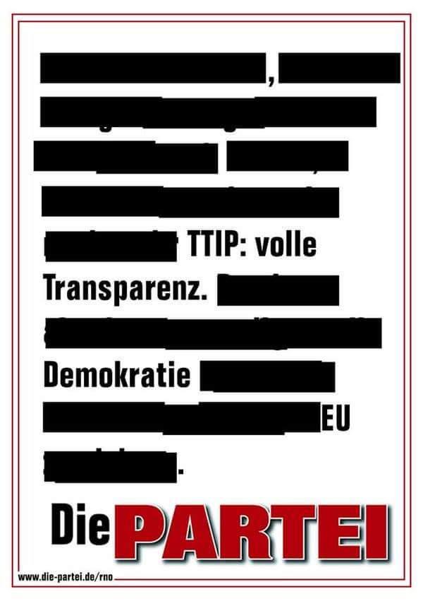TTIP: volle Transparenz. Demokratie. EU. | @die partei