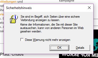 Internet Explorer - der einzige Browser der vor sicheren Webseiten warnt.