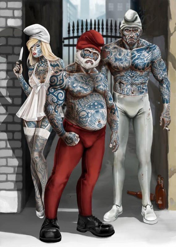 Gangster-Schlümpfe | http://sineglence.blogspot.de/2012/08/sirinler.html