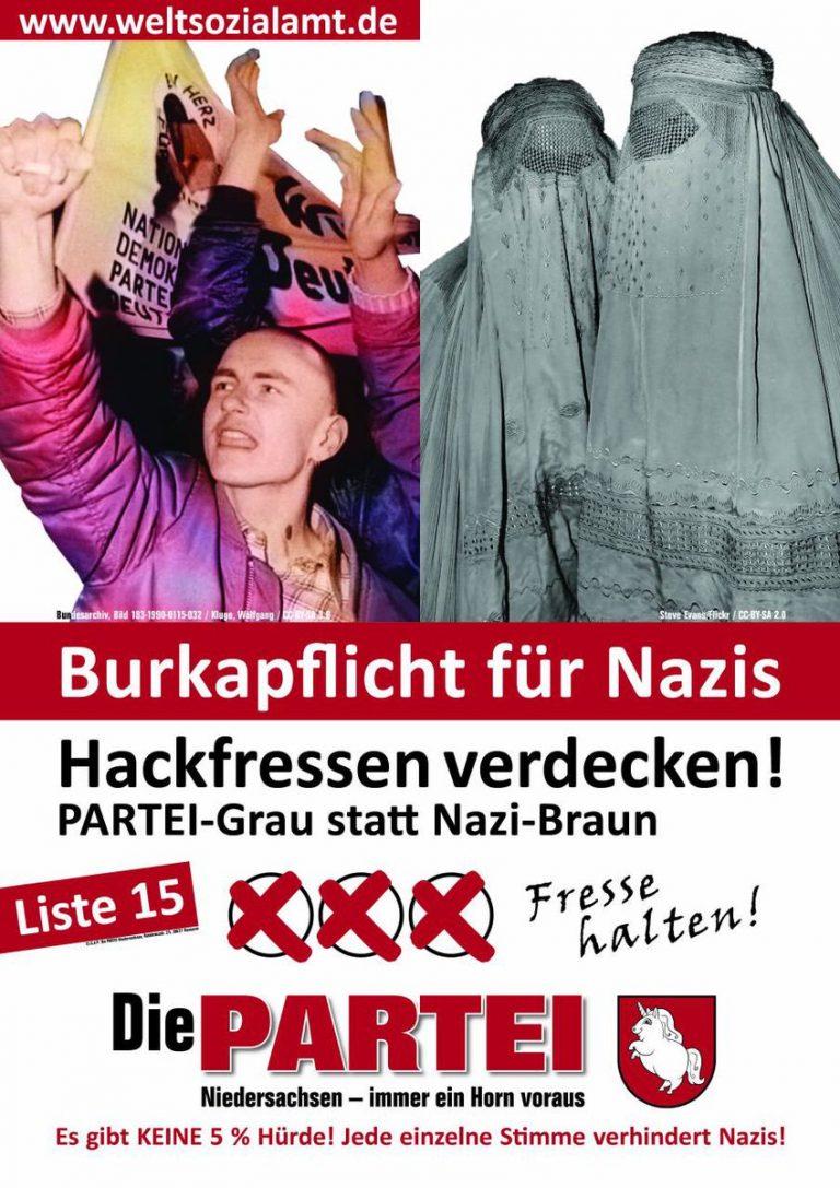 Burkapflicht für Nazis. Hackfressen verdecken! | @die partei
