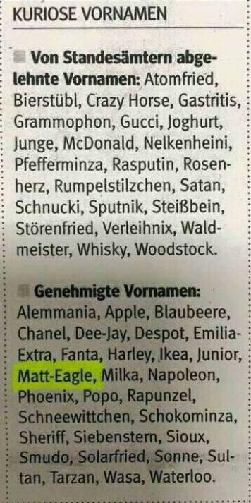 "Kuriose Vornamen - ""Matt-Eagle"""