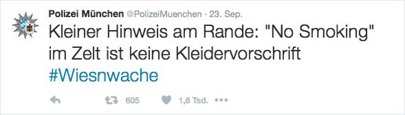 Kleiner Hinweis der Polizei München.