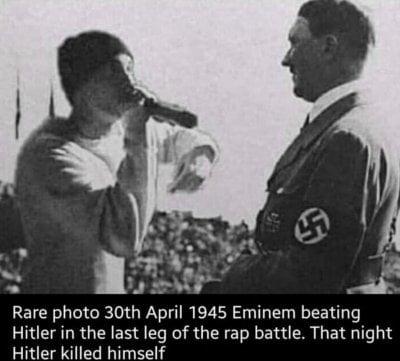rare photo, 30th april 1945 - eminem beating hitler!