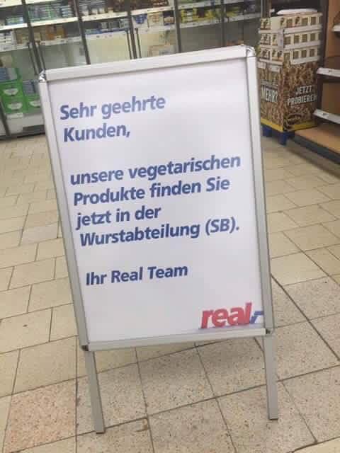 Vegetarische Produkte, ab jetzt in der Wurstabteilung.