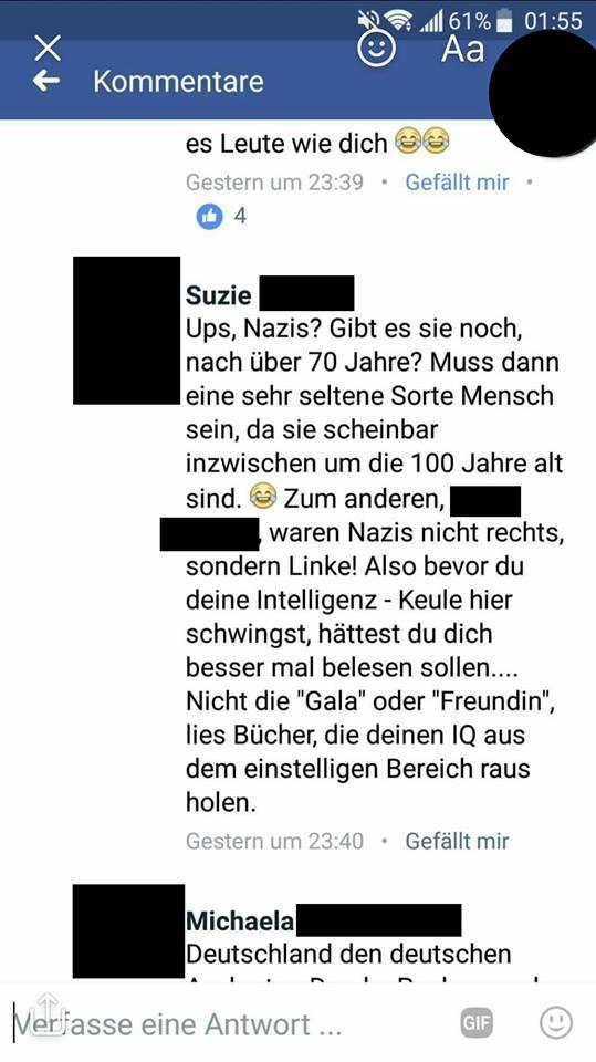 Gibt es noch Nazis? Nein, natürlich nicht, es gibt dafür sehr helle Menschen mit Facebook-Account.