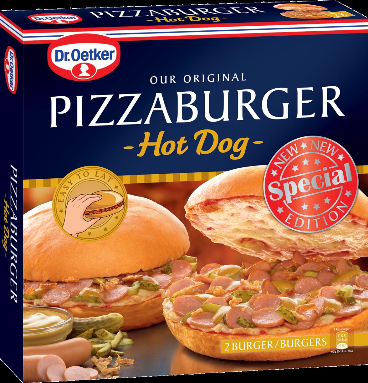 """Der originale Pizza-Burger """"Hot Dog""""."""