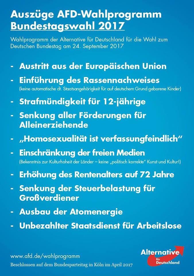 Auszüge AFD-Wahlprogramm | https://www.afd.de/wp-content/uploads/sites/111/2017/06/2017-06-01_AfD-Bundestagswahlprogramm_Onlinefassung.pdf