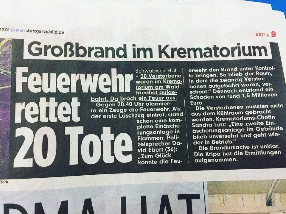 Großbrand im Krematorium.