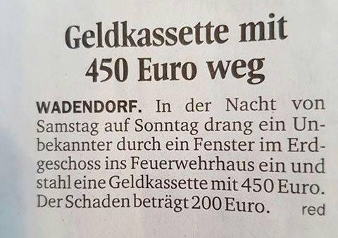 Geldkassette mit 450 Euro weg