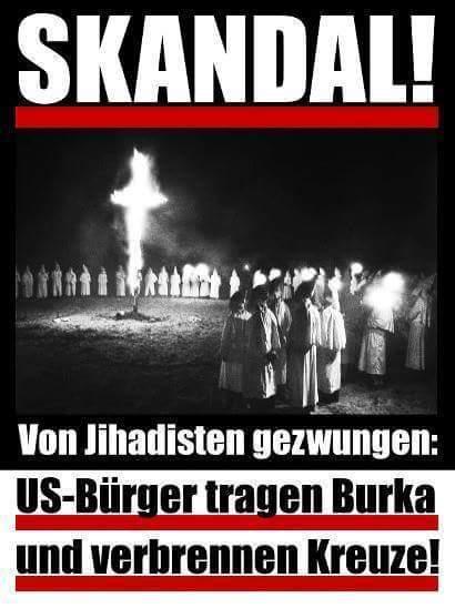 Skandal - US-Bürger tragen Burka und verbrennen Kreuze! | #Fake-News #Artcore #Claire-Grube