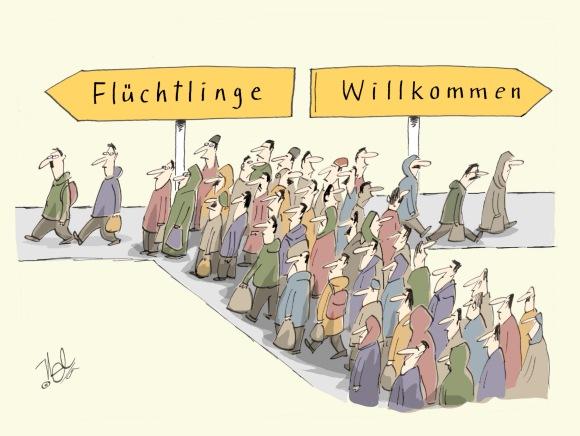 schwere entscheidung. | http://www.nelcartoons.de/tagein-tagaus/fluechtlinge-willkommen-wege.1373