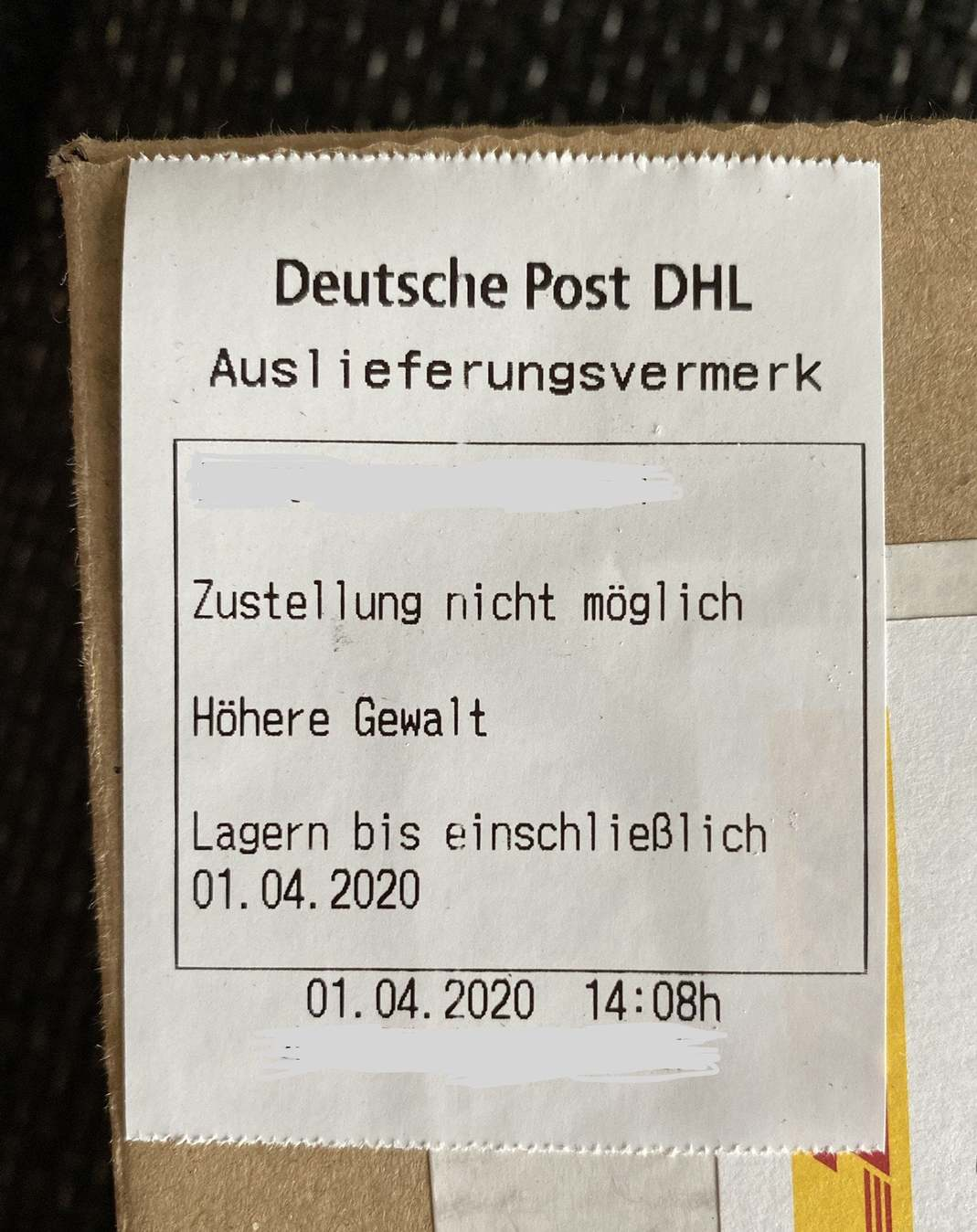 DHL - Höhere Gewalt