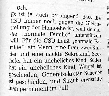 Gleichstellung der Homoehe.