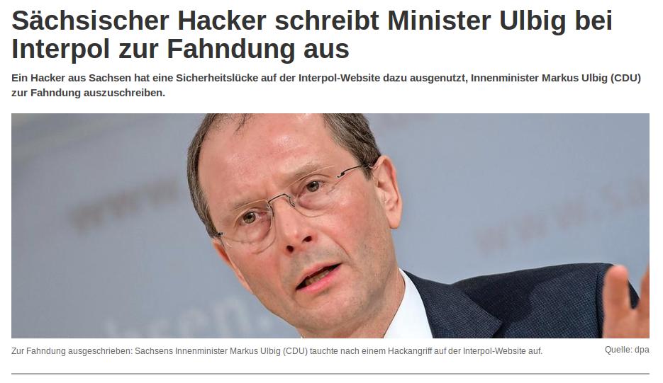 Minister Ulbig bei Interpol zur Fahndung ausgeschrieben.