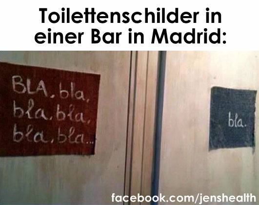 Toilettenschilder in einer Bar in Madrid.