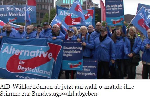 AfD-Wähler stimmen via wahl-o-mat.de ab: https://www.eine-zeitung.net/2017/08/30/afd-waehler-koennen-ab-jetzt-auf-wahl-o-mat-de-ihre-stimme-abgeben/  