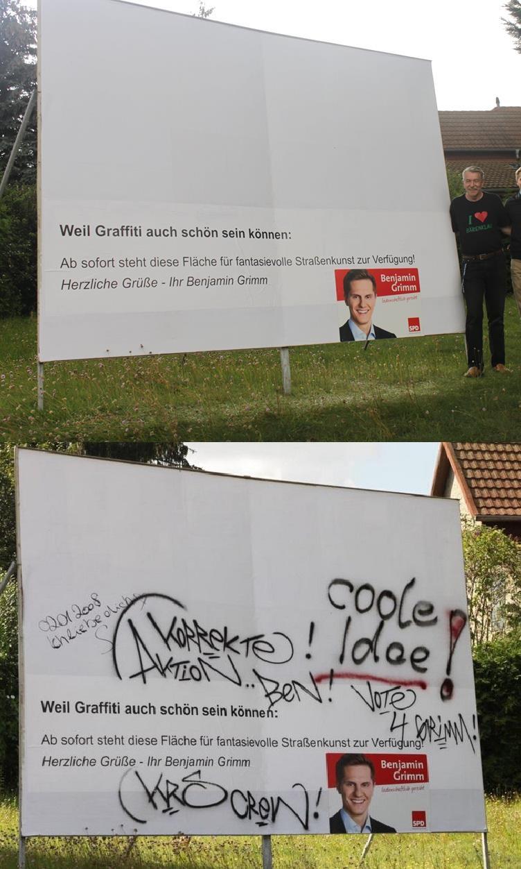 SPD Wahlplakat inklusive Graffiti.