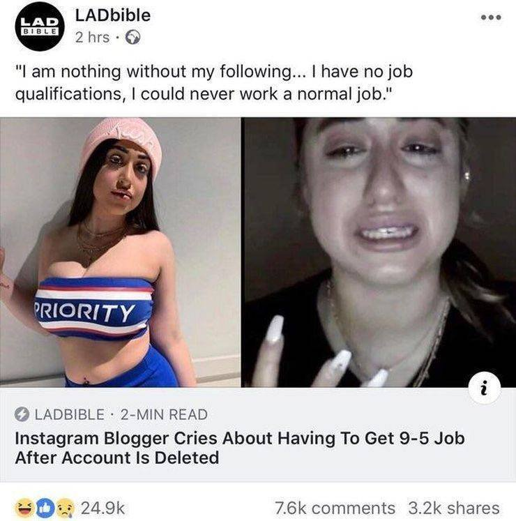Instagram-Blogger cries after account is deleted.
