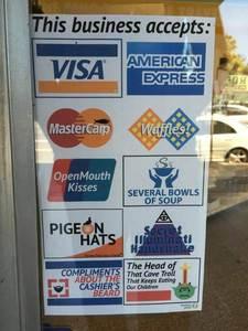 Akzeptierte Zahlungsmöglichkeiten.