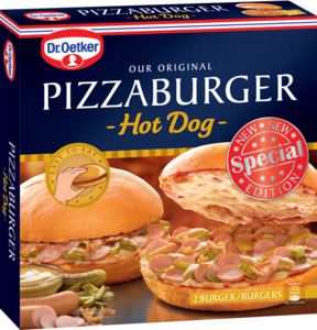"Der originale Pizza-Burger ""Hot Dog""."