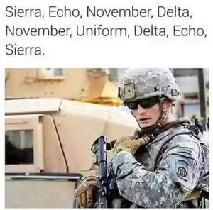 Sierra, Echo, November, Delta ....